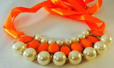 Immitation Pearl/Stone Gemstone Ribbon Statement Bib Statement Necklace Jewelery