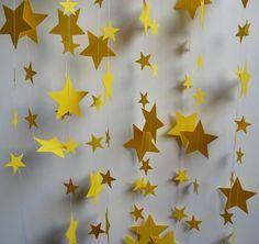 Guirnalda de papel estrellas amarillas 18 pies de por polkadotshop