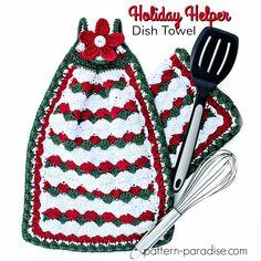 Free Crochet Pattern: Holiday Helper Dish Towel   Pattern Paradise