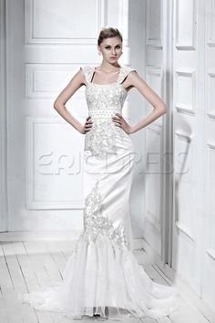 Gorgeous Trumpet/Mermaid Strapless Sleeveless Embroidering Wedding Dresses