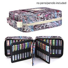 202 Colored Pencils Pencil Case / 136 color gel pens Pen Bag / Marker organizer - Universal Artist use Supply School Zippered Large Capacity slot Super big Professional Storage qianshan fresh
