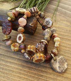 Czech Glass Bracelet Set Rustic Boho Eclectic Ivory Brown Rose