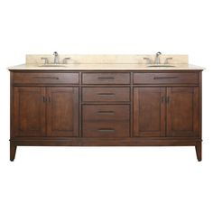 "Avanity MADISON-VS72 Madison 72"" Free Standing Vanity Set with Wood Cabinet Sto Tobacco / Beige Marble Top Fixture Vanity Double"