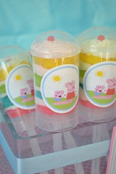 Rainbow push up pops at a Peppa Pig Party #peppapig #party