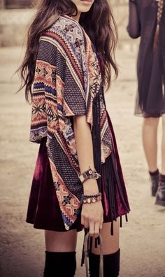 Boho.  DIY out of a giant scarf-->shrug, measure out the center to be as wide as your shoulders, add 2 inches for slouched comfort and stich side down to the shoulder line halfway up