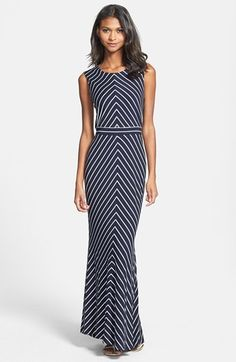 Got this for cruise.  Great dress, so flattering and comfortable. Taylor Dresses Mitered Stripe Maxi Dress available at #Nordstrom