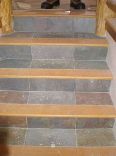 wood and tile stairs