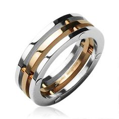 You will get one Surgical Stainless Steel Pieces/IP Rose Gold Center. Surgical Stainless Steel is hypoallergenic and should not cause an allergic reaction even to the most sensitive skin. Unusual Wedding Rings, Wedding Rings For Women, Unique Rings, Rings For Men, Titanium Jewelry, Estilo Fashion, Diamond Cluster Ring, Stainless Steel Jewelry, Blue Rings