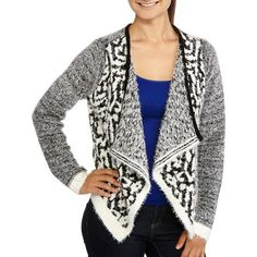 No Boundaries Juniors Hairy Marled Flyaway Cardigan