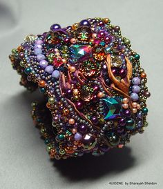 SHEER DECADENT SHIBORI  Bead Embroidered Bracelet/Cuff by 4uidzne, $300.00
