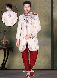 Classy White Brocade Sherwani Model: YOSHV771