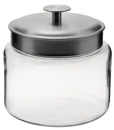 Anchor 77977 Montana Jar with Brushed Aluminum Metal Cover, 64 oz. - Clear glass storage jar from Anchor Hocking - 64-ounce capacity. Brushed aluminum metal lid. On the table, in the kitchen, and around the home, Anchor Hocking offers a wide variety of high quality consumer glassware products that are both beautiful and functional. Accent and organize the kitchen,...