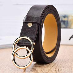 Women/'s Hollow Leather Belts Ladies Jeans Waist Belt Strap With Metal Buckle NormCorer