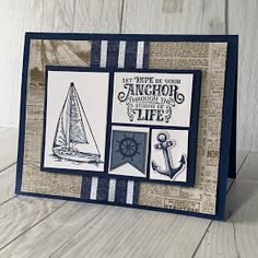 Stampin' Up! Come Sail Away Suite has coordinating products like Memories & More cards that makes card-making easy Be creative and craft hand made cards and paper crafts. A creative guide for using Stampin' Up! Masculine Birthday Cards, Birthday Cards For Men, Masculine Cards, Male Birthday, Diy Birthday, Stampin Up, Nautical Cards, Beach Cards, Boy Cards