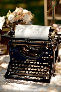 A lovely old typewriter, sat on the desk filled with typed up ramblings of poetry or the after effects of a glass of wine the story faded by uneven typeface and inconsistent decisions...