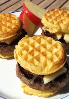 "Make weekend lunches more memorable with this Leggo My Grand Slam recipe that uses crispy Eggo Waffles as the ""bun."" Recipe courtesy of Lisa Keys."