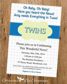 Oh Baby Baby Twins Baby Shower Invitation  by GraciousBeeGreetings, $14.00