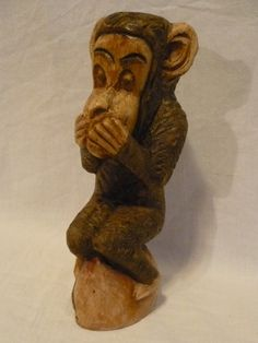 "# 4136/7-Wooden carving of a monkey-size 3.00"" x 3.00"" x 7.00""-- - http://get.sm/1c6ggjz #tradebank General Merchandise,Hamilton ON"