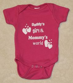 d05d65a27 Daddy's girl and Mommy's world Baby Infant Onesie Toddler Boy Girl Shower  Gift Mom Dad Childrens Tshirt Shirt Creeper Custom Personalized