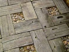 Some recycled timber and pebbles make a pretty nie garden path, don't they?