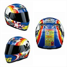 2004 AGV Sepang Winter Test ('Cleaning-Up') Helmet: Rossi had a new helmet to show off for the testing sessions during winter 2004, and the start of 2005 – The design was based on a famous washing powder brand, complete with washing instructions on the rear of the helmet. The design was used to portray Rossi as a 'cleaner', and to make a statement on how he has 'cleaned-up', or won everything, in all the series that make up MotoGP (125cc, 250cc, 500cc, and now MotoGP). Either side of the…