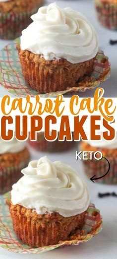 Keto Carrot Cake Cupcakes These are the Best Ever Keto Carrot Cake Cupcakes with Cream Cheese Frosting. These moist Carrot Ca Moist Carrot Cakes, Carrot Cake Cupcakes, Cupcake Recipes, Dessert Recipes, Top Recipes, Easter Recipes, Desserts Ostern, Cupcakes With Cream Cheese Frosting, Homemade Frosting