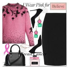 """I Wear Pink for Breast Cancer!"" by mariamouzaki ❤ liked on Polyvore featuring Prada, Armani Collezioni, Louis Vuitton and Irene Neuwirth"