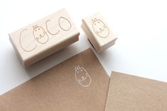 The world's cutest custom stamp. Hand lettered but five year old Coco. made by Besotted Brand.com.