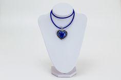 Glas Herz Blau Halskette Kettenanhänger von Sylo Ketten auf DaWanda.com