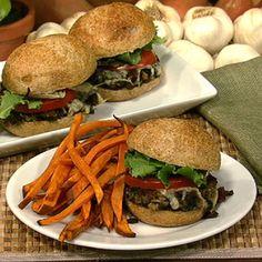 Mushroom Sliders with Sweet Potato Oven Fries