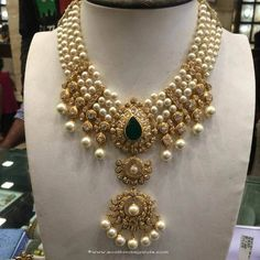Gold Pearl Necklace Designs, Gold Pearl Necklace Models, Pearl Necklace Designs.