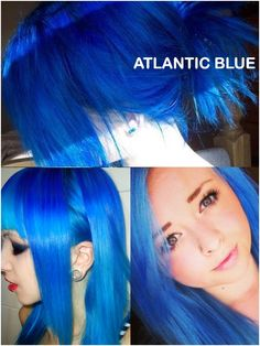 Directions Atlantic Blue - It's so hard to find good blue shades that don't become turquoise really fast, so I really hope this is it (Lagoon blue washes out really turquoise). Gothic Hairstyles, Permed Hairstyles, Trendy Hairstyles, Green Hair, Purple Hair, Assymetrical Hair, Bright Hair, Colorful Hair, Semi Permanent Hair Dye