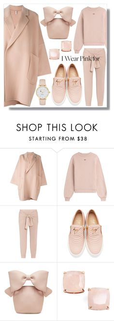"""Oversized Pink Coat"" by skad183 ❤ liked on Polyvore featuring Helmut Lang, Off-White, TIBI, Giuseppe Zanotti, Simone Rocha and Kate Spade"