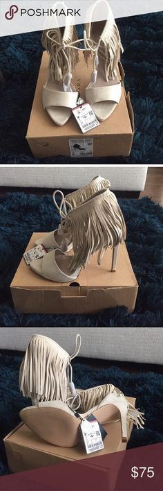 Zara fringe heels UK size 41, fit like a US 9.5 or a US 10 if you have short toes. Zara Shoes Sandals