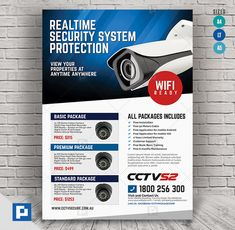 This CCTV Surveillance Camera Flyer Design has been develop to boost your marketing campaign. Security Training, Security Tips, Home Security Systems, Security Camera, House Security, Cctv Surveillance, Security Surveillance, Promo Flyer, Alarm Companies