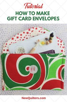 Giving someone a gift card doesn't have to be impersonal. Make your gift special by tucking a gift card into a cute DIY little fabric envelope. Fabric Envelope, Gift Envelope, Quilting For Beginners, Quilting Tips, Christmas Diy, Christmas Cards, Envelope Tutorial, Card Envelopes, Make A Gift