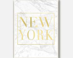 New York Prints, New York Affiche, Travel Poster, City Art Print, Marble Wall Art, New York Wall Art, Typography Wall Art, Gold and White