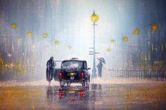 Rainy day by Jeff Rowland Walking In The Rain, Singing In The Rain, London Rain, Rain Wallpapers, 1920x1200 Wallpaper, I Love Rain, Rain Painting, Painting People, Rain Art