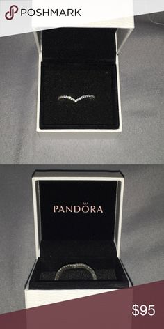 Pandora Chevron Ring CZ chevron ring from pandora! Only worn a few times, have the original box it came in. Pandora Jewelry Rings