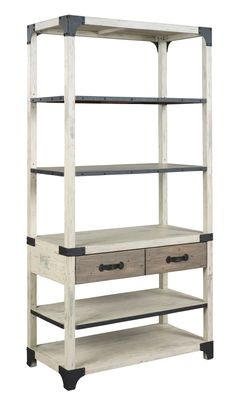 The Reclamation Place shelf by Hammary includes a mixture of wood species, creating a high-low or dark-light look that makes each piece unique. Details such as oxidized stains from old nails and saw marks that reveal previous use tell an intriguing story, and custom hardware and hammered metal accents complete a look that is equally at home in an urban loft or a country home. New for #hpmkt Spring 2015.