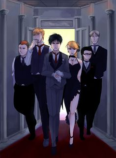 Roy and team out in the night...2nd lt Heymens Breda, 2nd lt. Jean Havoc, Col. Roy Mustang, lt, Riza Hawkeye, Sgt. Fuery, and Warrant Officer Veto Fallman