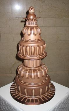 Extraordinary, decadent chocolate wedding cake by renowned pastry chef/cake artist Bronwen Weber, owner of Frosted Art Bakery and Studio in Dallas, Texas....