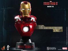 Busto Mark VII 11 cm. Iron Man 3. Serie 2. Sideshow Collectibles Espectacular busto para tu colección de la armadura Mark VII 11 cm visto en el popular film Iron Man 3, a escala 1/6, con luz y 100% oficial y licenciado.