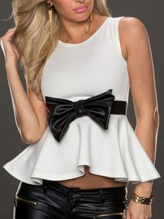 Bowtie Sleeveless Loose Elegant Women Summer Casual T-Shirts on buytrends.com
