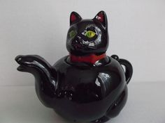 Black Cat Tea Pot Vintage 1950's Red Bow Tie from saltymaggie on Ruby Lane