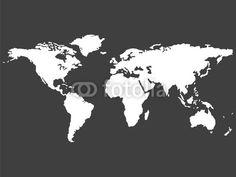 white world map isolated on gray background