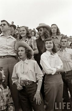 Nina Leen, Peter Stackpole and Cornell Capa between 1947-48 at the University of Arizona Rodeo and the opening of the Flying L Ranch in Texas, which included a celebratory cowgirl fashion event.