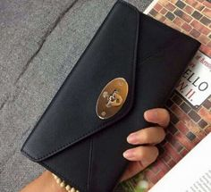 Mulberry Spring Summer 2015 Catwalk Collection Outlet UK-Mulberry Envelope Wallet Black Classic Calf with Soft Gold