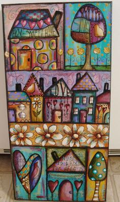 Another 10 x 20 canvas—this time with a 'Funky Little City Scape' (re-visiting my class with Jodi Ohl from last year) by Diane Salter