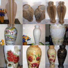 : Vase made entirely of cardboard . Diy Cardboard Furniture, Cardboard Crafts, Flower Vase Making, Flower Vases, Paper Vase, Diy Paper, Wine Bottle Crafts, Bottle Art, Vase Deco